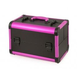 Kuferek kosmetyczny beauty czarno-różowy ala skóra